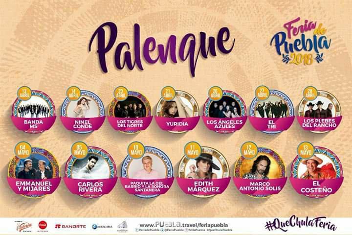 Conoce a los artistas que se presentarán en el Palenque de la Feria de Puebla 2018